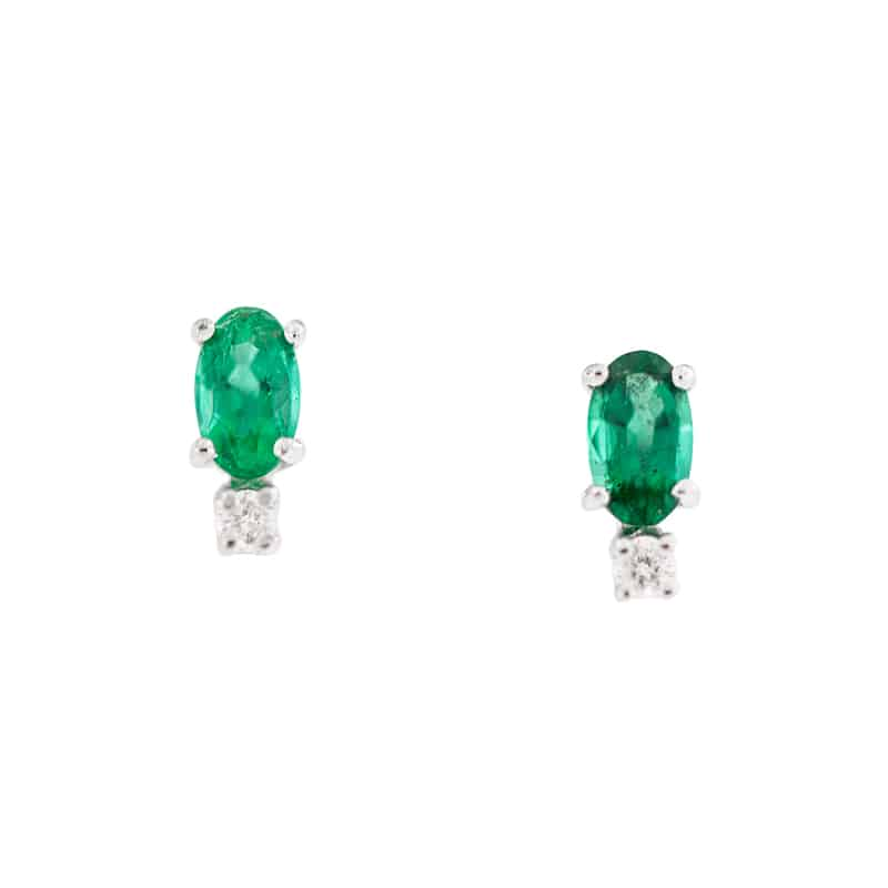 Oval Emerald & Diamond Studs front view.