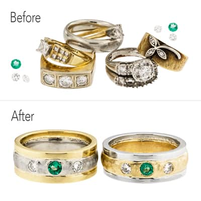 custom wedding bands before and after picture