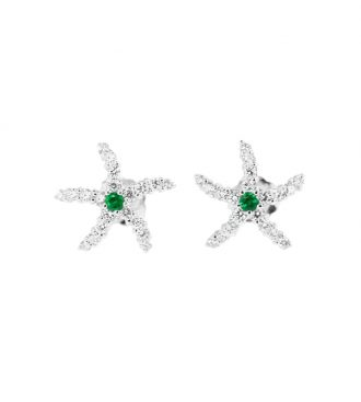 White Gold Emerald & Diamond Starfish Earrings on white background.