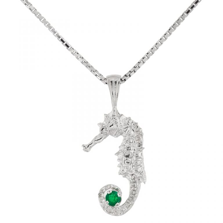 Platinum Sterling Emerald Seahorse with Diamond Eye on a chain