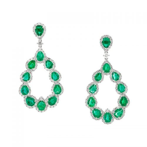Pear Shape Emerald and Diamond Halo Earrings
