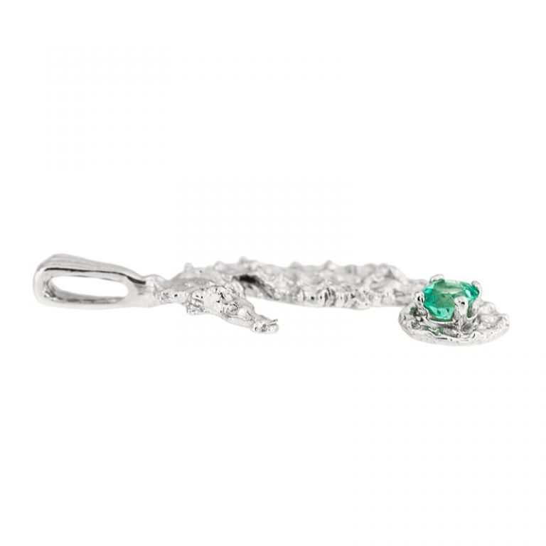 White Gold Emerald Seahorse Pendant side view.