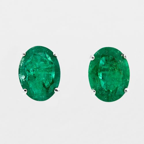 Oval Emerald Earrings front view.