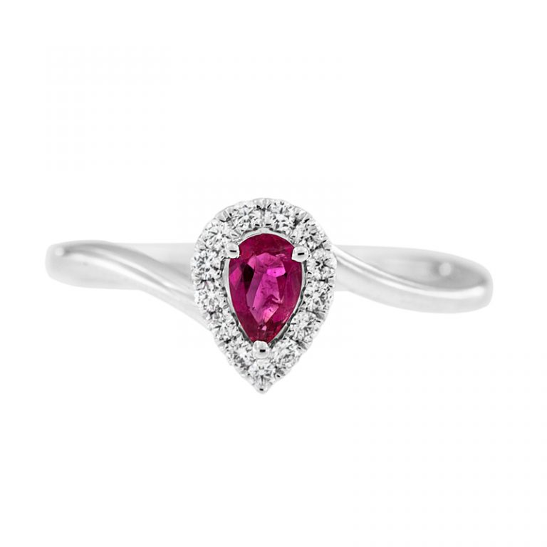 Pear Shape Red Beryl Engagement Ring front view.