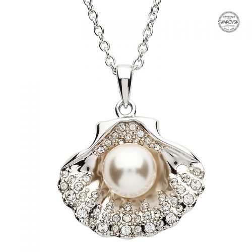 Silver Shell Pendant with Swarovski Crystals & Pearl