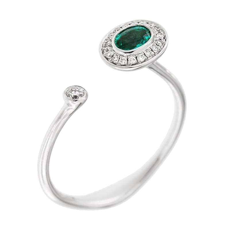 Oval Emerald & Diamond U-Bar Ring