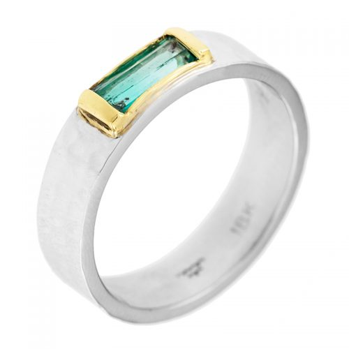 Mens Emerald Wedding Band