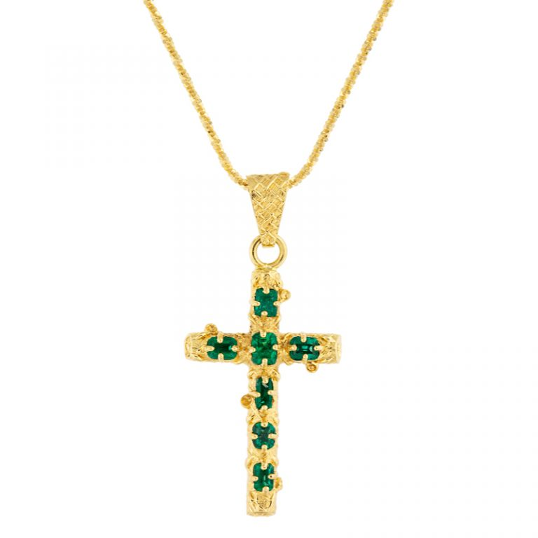 Medium Colombian Cross Pendant on a chain.