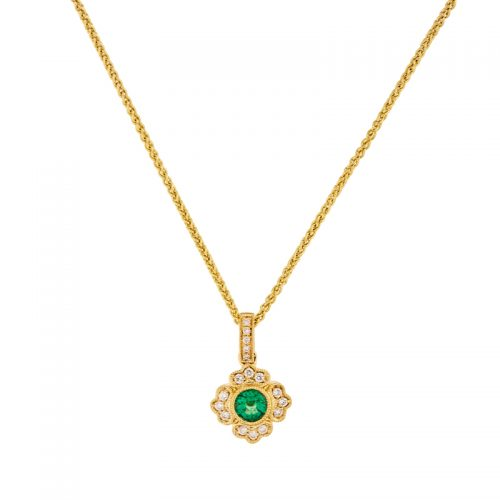 Large Round Emerald Vintage Style Pendant on a chain.