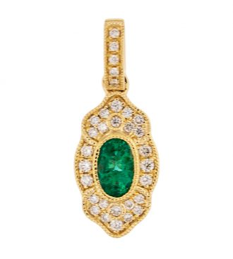 Tall Oval Emerald Vintage Style Pendant