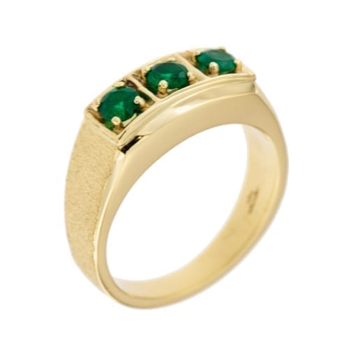 Mens Three Emerald Ring