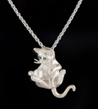 Cat Pendant with Pearl
